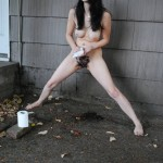 female pissing outside